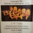 5 på Tvers spiller på Langangen Mat